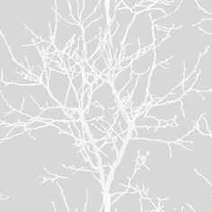 Grandeco Aurora Light Grey Tree Trail on Metallic Silver Wallpaper A