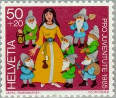 ◇Swiss Stamp 1985 - Snow White and the Seven Dwarfs