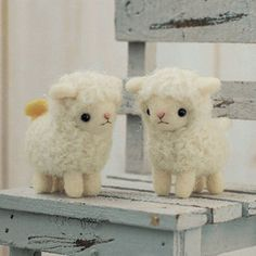 DIY Felted wool SHEEP Sisters  KIT Japanese craft kit by Hamanaka. $13.90, via Etsy.