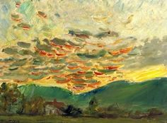 """Max Slevogt (German, Impressionist, 1868-1932): Sunset 2. Oil on canvas. """"Max Slevogt ... best known for his landscapes. He was, together with Lovis Corinth and Max Liebermann, one of the foremost representatives in Germany of the plein air style."""""""
