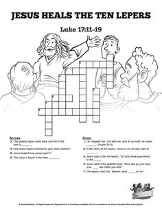 Luke 17 Ten lepers Sunday School Crossword Puzzles: Both fun for kids and an incredible teaching resource, this ten lepers crossword puzzle will make a great addition to your upcoming Luke 17 Sunday school lesson. You'll love watching your kids search Luke 17:11 to solve this ten lepers Bible activity.