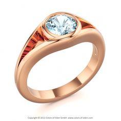 Red Gold Aquamarine Ring Grazia