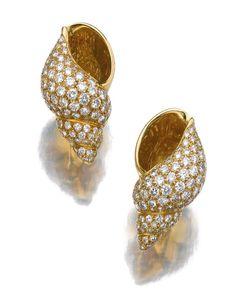 Pair of diamond ear clips, Bulgari