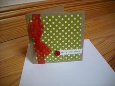 Green polka dot Christmas card with red ribbon Simple Christmas Cards, Merry Christmas, Red Ribbon, Polka Dots, Tips, Green, Design, Merry Little Christmas