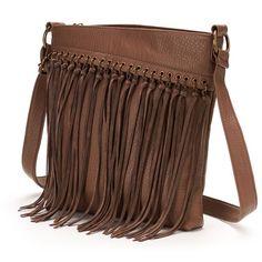SONOMA life + style Katrine Fringed Crossbody Bag (Brown) ($60) ❤ liked on Polyvore featuring bags, handbags, shoulder bags, purses, brown, boho shoulder bag, crossbody handbags, fringe crossbody, purse and fringe handbags