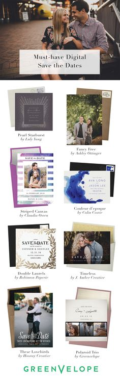 From vintage botanicals to modern photo inserts, select and customize the save the date that suits your personal style. With all of the style and none of the stress, save the dates have never been easier or more beautiful than with Greenvelope.com