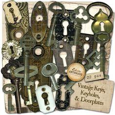 Antique Keys Keyholes and Doorplates Digital Graphics