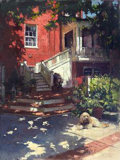 """Thank you to Peter Trippi of Fine Art Connoisseur Magazine for awarding my painting, """"A Window On Bentley's Backyard"""" (oil on linen, 18""""x24""""), Best In Show at Brazier Studio and Gallery Inc.'s Plein Air Richmond, a benefit for the Richmond SPCA. Thank you Dominion Energy Virginia for sponsoring the award. #patricksaunders #patricksaundersfineart #patricksaundersfinearts #patsaunders #pleinairstreaming #saundersfinearts #pleinairrichmond #richmond #virginia"""