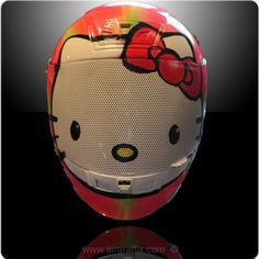 ...If I had a bike...I swear I would be wear this!  Custom Hello Kitty Motorcycle Helmet - www.AirGraffix.com