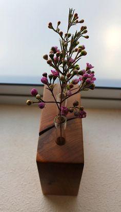 Test tube bud vase with wood base made of locally Salvaged eco friendly Maple. $27.00, via Etsy.
