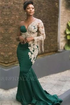 African lace dresses - Dark Green Mermaid Appliques Prom Dresses Glamorous Sweep Train One Shoulder Evening Dresses – African lace dresses African Prom Dresses, African Fashion Dresses, Nigerian Fashion, Ankara Fashion, Beautiful Prom Dresses, Elegant Dresses, Sexy Dresses, Formal Dresses, Summer Dresses