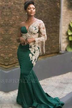 African lace dresses - Dark Green Mermaid Appliques Prom Dresses Glamorous Sweep Train One Shoulder Evening Dresses – African lace dresses African Prom Dresses, African Fashion Dresses, Nigerian Fashion, Ankara Fashion, Beautiful Prom Dresses, Elegant Dresses, Sexy Dresses, Formal Dresses, Summer Dresses