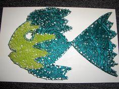 draadfiguur: plankje met spijkers en draad @'t Bastion Stage, Birthdays, Fish, Creative, Artwork, Anniversaries, Birthday, Work Of Art, Ichthys