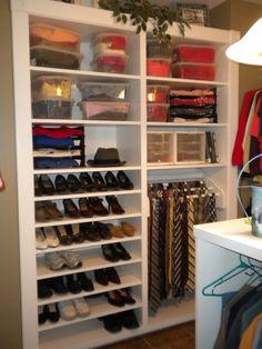 Closet design for men. Dressing Room Design, Dressing Rooms, Men Closet, Walk In Closet, Closet Storage, Closet Organization, Closet System, First Apartment, Dream Closets