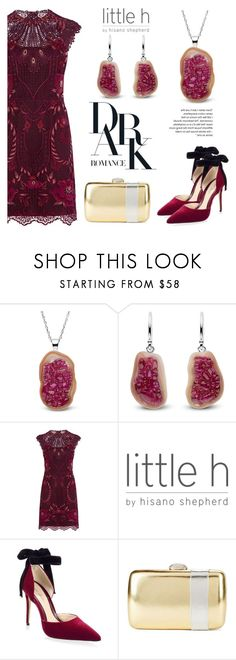 """""""Ruby Pearl Geode"""" by littlehjewelry ❤ liked on Polyvore featuring Karen Millen, Monique Lhuillier and Nina"""