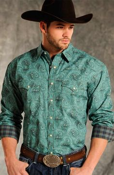 Rough Stock Mens Brussels Vintage Print Western Snap Shirt - Teal $43.97