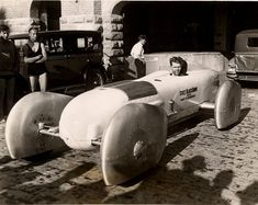 Frank Lockhart in the Stutz Blackhawk Land Speed Record attempt vehicle.