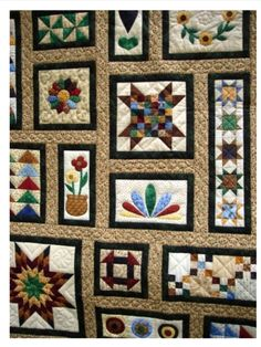 Little Quilts (Darlene D).like the randomness of the blocks. Refreshing change for a sampler type quilt. Cute Quilts, Scrappy Quilts, Small Quilts, Mini Quilts, Patch Quilt, Quilt Blocks, Quilting Projects, Quilting Designs, Colchas Country