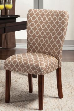 Parson Side Chair - Tan/Cream Quatrefoil