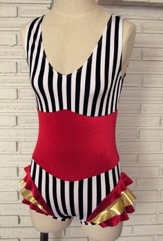 Vertical Stripe Cirque Leotard Bodysuit Aerial by HarmonyThreads