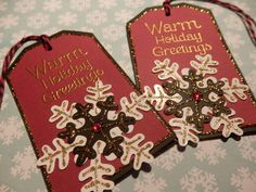 Warm Holiday Wishes - Gift/Hang Tags (6) Custom for JavaD... by HeartsCalling on Etsy