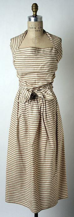 Dress (Sundress)  Claire McCardell  (American, 1905–1958)  Manufacturer: Townley Frocks (American) Date: 1944 Culture: American Medium: cotton