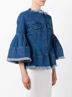 Shop Marques'almeida flared sleeve denim jacket