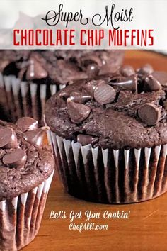 Search no further, for you have just uncovered THE BEST chocolate muffin recipe! These Moist Chocolate Chip Muffins are all that one longs for in a muffin – super chocolatey, dense, and moist. I've tried lots of… Continue Reading → Köstliche Desserts, Chocolate Desserts, Delicious Desserts, Dessert Recipes, Chocolate Chocolate, Chocolate Muffin Recipe Easy, Breakfast Recipes, Moist Chocolate Chip Muffins, Choc Muffins