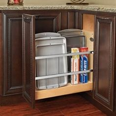 Rev-A-Shelf 447 Series Wide Pull-Out Foil, Wrap, Sheet, and Tray Divider Cabinet Organizer for Kitchen Base Cabinets with Soft-Close Slides Kitchen Organization, Kitchen Storage, Kitchen Organizers, Cabinet Organizers, Organization Ideas, Storage Ideas, Cabinet Storage, Storage Solutions, Pantry Shelving