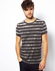 New Look T-Shirt with Burn Out Stripe Print