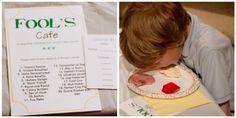 """cute/kind april fool's day ideas - love the """"fool's cafe"""" mystery dinner idea"""