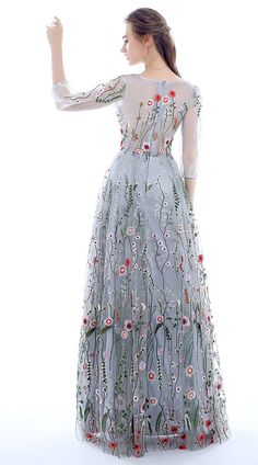 Dobelove Women's Long Sleeves Floral Embroidery A-line Evening Dress