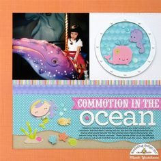 Doodlebug Under The Sea 2-Page Layout by Mendi Yoshikawa - Scrapbook.com