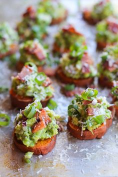 Roasted Sweet Potato Rounds with Guacamole and turkey or chicken Bacon | theroastedroot.net #paleo #vegan #recipe #appetizer