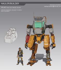 This is supposed to be a construction mech designed to operate massive equipment like drills and to haul supplies through areas where aerial or wheeled vehicles cannot pass through. Character Concept, Character Design, Sci Fi Armor, Sci Fi Ships, Lourdes, Robot Concept Art, Robot Design, Sci Fi Characters, Science Fiction