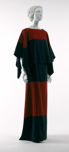Dinner dress, 1922–23  Paul Poiret (French, 1879–1944)  Navy-blue and red silk faille, gold metallic bullion buttons