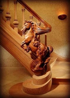 Beautiful horse carved banister