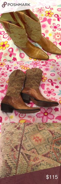 Vero Cuoio Paisley Leather Boots Made in Brazil Vero Cuoio Shoes Heeled Boots