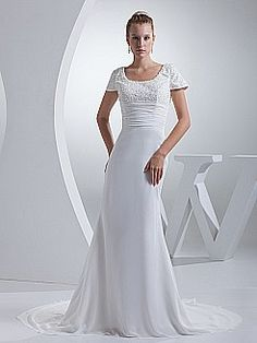Beaded Short Sleeve Chiffon Wedding Dress with Pleated Waist - USD $189.00