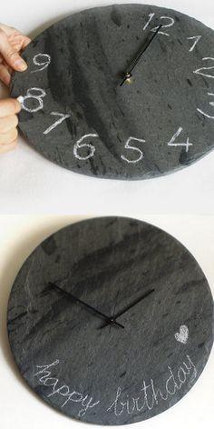 DIY Slate Chalkboard Clock