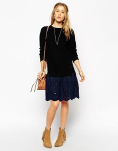 Enlarge ASOS Jumper Dress With Woven Skirt