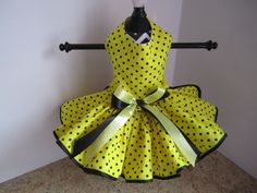 Dog Dress  XS Yellow with black   Polkadots  by NinasCoutureCloset