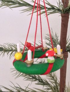 German Wooden Christmas Ornament - Small Candle Wreath