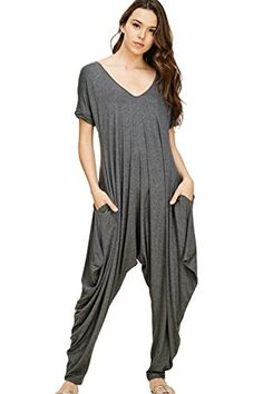 104bc97ce44f Annabelle U.A Annabelle Women s Comfy Casual Short Sleeves Harem Long Pants  Jumpsuits with Pockets