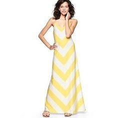 Gap Yellow Chevron Zig Zag Stripe Maxi Dress   Large NWT