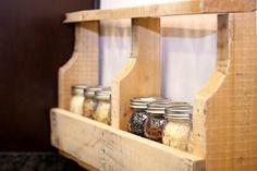 Mason jar shelf from palettes.