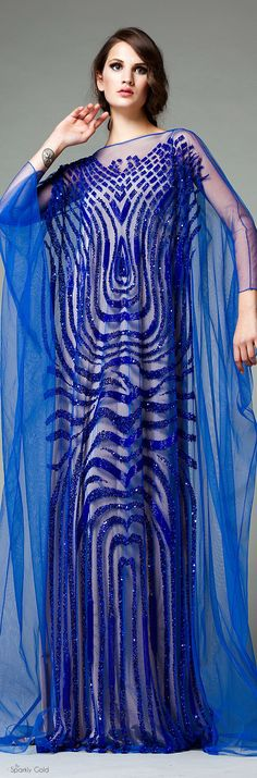 Veloudakis Fall 2015 Maxi blue women fashion outfit clothing style apparel @roressclothes closet ideas