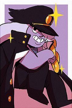 What - lamaneus: Steven Universe X Jotaro Kujo. Steven Universe Fan Fusions, Steven Universe Drawing, Greg Universe, Universe Art, Berserk, Amethyst Su, Jojo Memes, Anime Crossover, Fanart