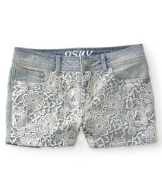 Aeropostale Kids PS Girls' Crochet Front Light Wash Denim Shorty Shorts | eBay