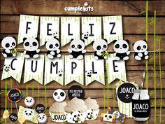 Kit imprimible de cumpleaños Oso Panda. Invitación imprimible. Decoración de… Panda Themed Party, Panda Birthday Party, Happy Birthday Boy, Panda Party, Happy Birthday Banners, Birthday Decorations, Panda Love, Cute Panda, Panda Baby Showers